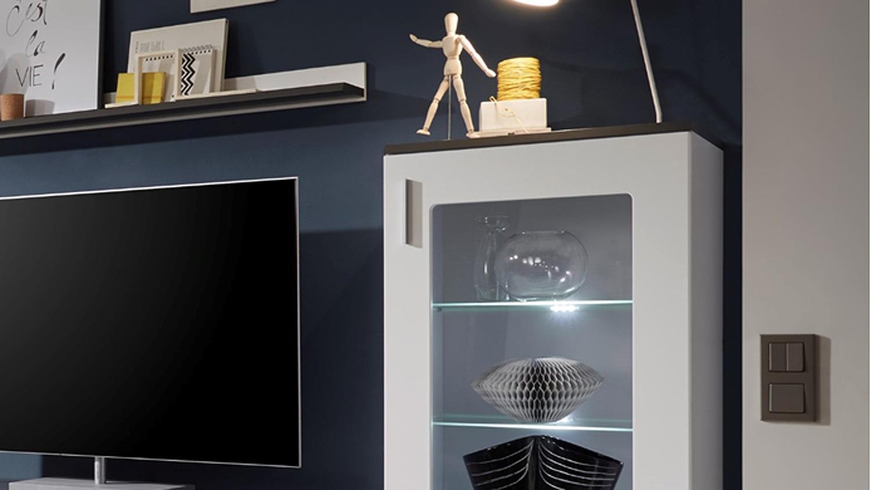 wohnwand 3 jump in mdf wei und grau mit beleuchtung. Black Bedroom Furniture Sets. Home Design Ideas