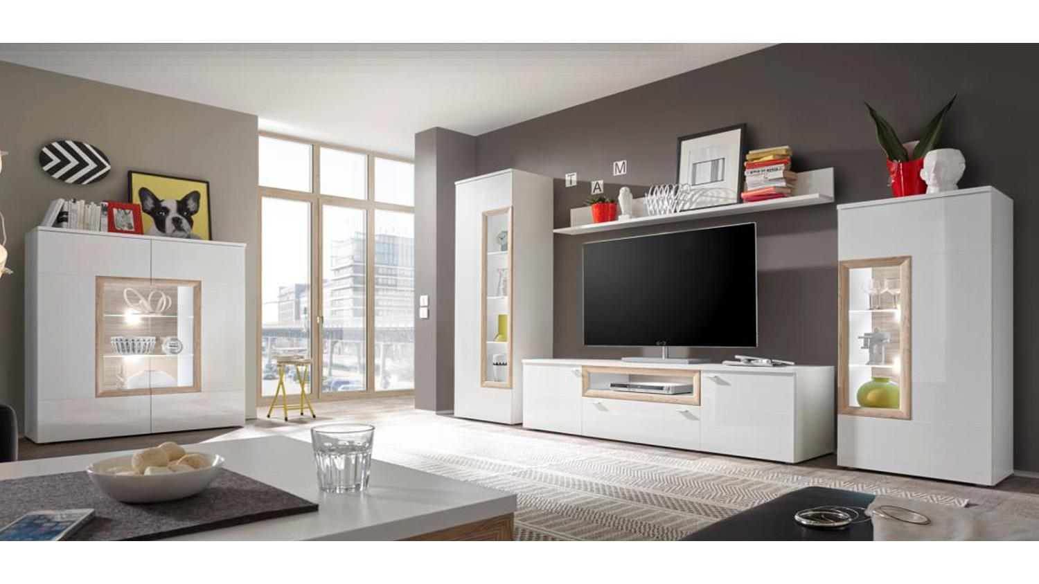 highboard prag in wei hochglanz und san remo mit led. Black Bedroom Furniture Sets. Home Design Ideas