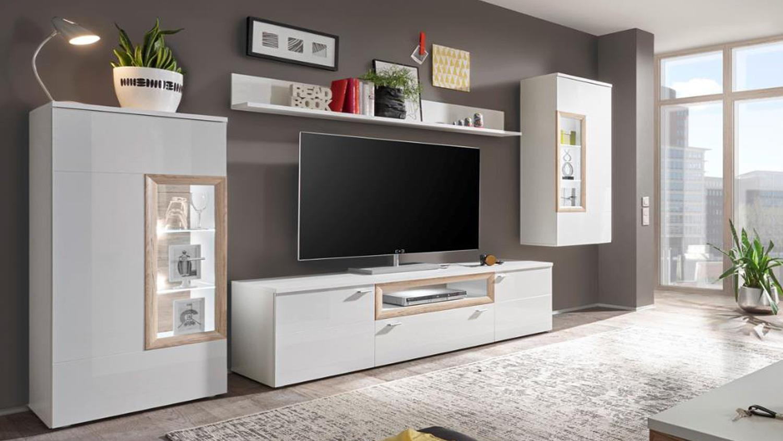wohnwand 2 prag in wei hochglanz und san remo mit led. Black Bedroom Furniture Sets. Home Design Ideas