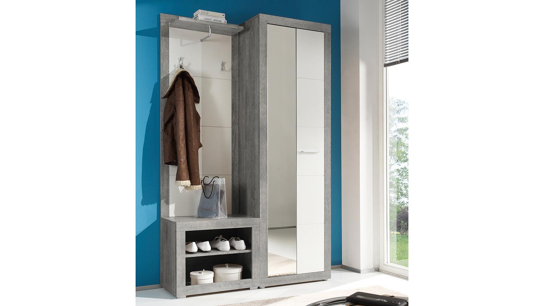 kompaktgarderobe stone set in beton optik grau und wei glanz 3 teilig. Black Bedroom Furniture Sets. Home Design Ideas