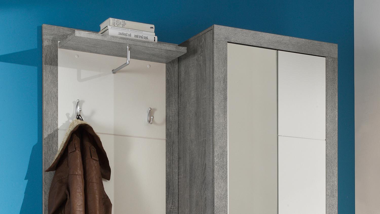kompaktgarderobe stone 3 teilig in beton optik und wei. Black Bedroom Furniture Sets. Home Design Ideas