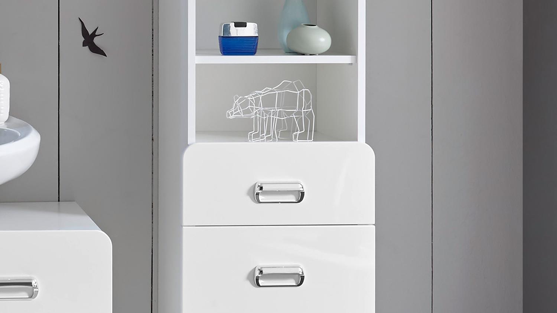 hochschrank kopenhagen badezimmerschrank in wei hochglanz. Black Bedroom Furniture Sets. Home Design Ideas