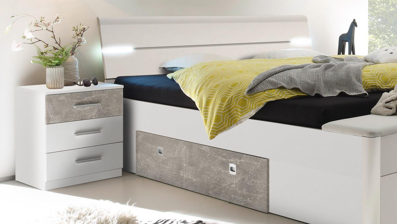 bettanlage mars xl bett wei beton mit led und bettkasten. Black Bedroom Furniture Sets. Home Design Ideas