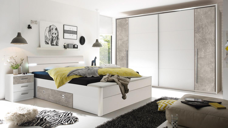 Doppelbett Mit Led ~ Bettanlage mars xl bett weiß beton mit led und bettkasten