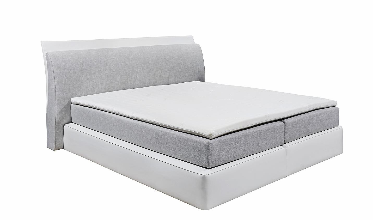 boxspringbett ventura 2 grau wei 7 zonen mit beleuchtung. Black Bedroom Furniture Sets. Home Design Ideas