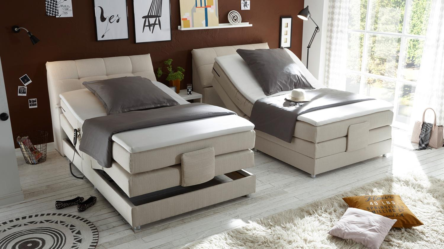 boxspringbett concort stoff creme komfortbett mit motor. Black Bedroom Furniture Sets. Home Design Ideas