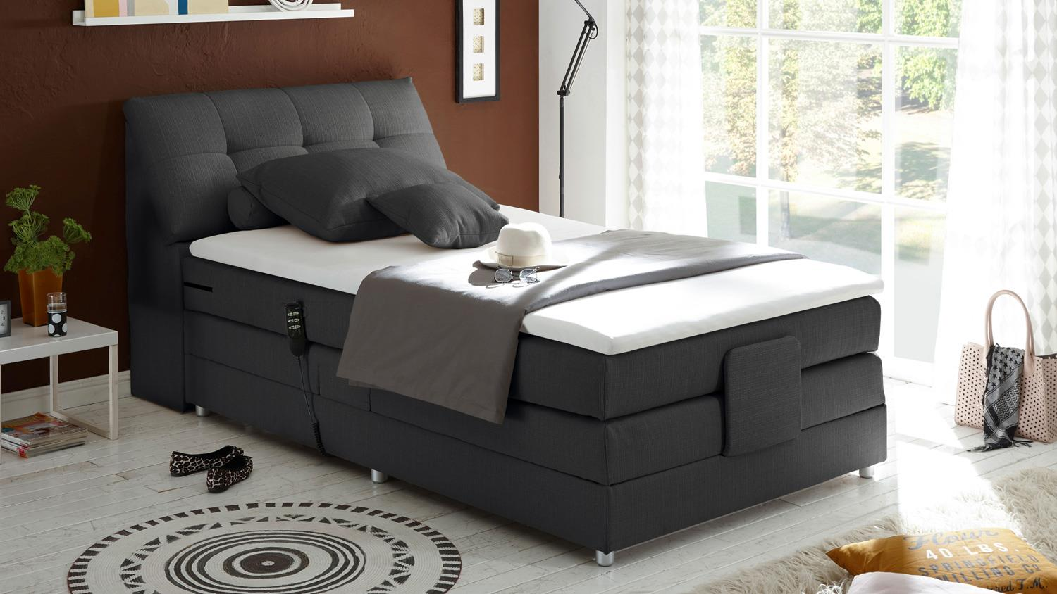 boxspringbett concort stoff anthrazit komfortbett mit. Black Bedroom Furniture Sets. Home Design Ideas