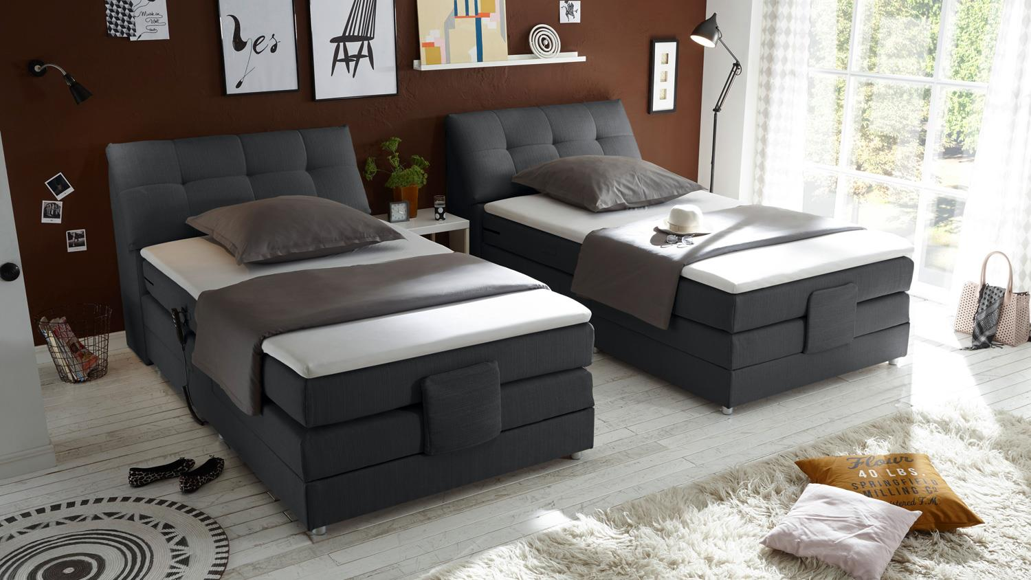 boxspringbett concort stoff anthrazit komfortbett mit motor 120x200 cm. Black Bedroom Furniture Sets. Home Design Ideas