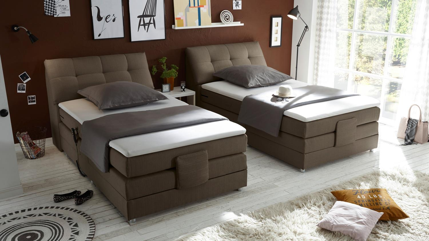 boxspringbett concort stoff stone komfortbett mit motor 120x200 cm. Black Bedroom Furniture Sets. Home Design Ideas