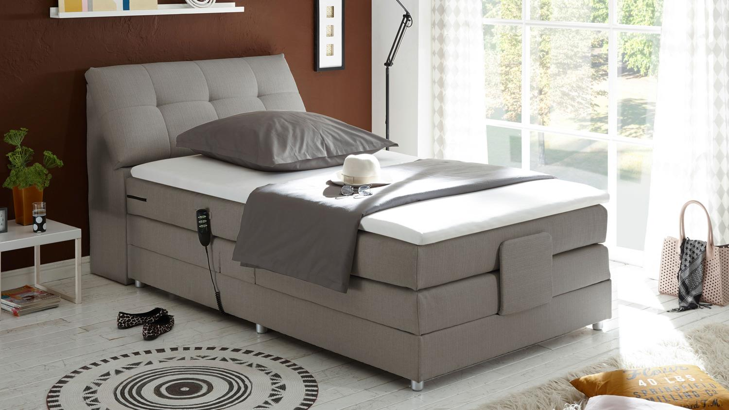 boxspringbett concort stoff silber komfortbett mit motor. Black Bedroom Furniture Sets. Home Design Ideas