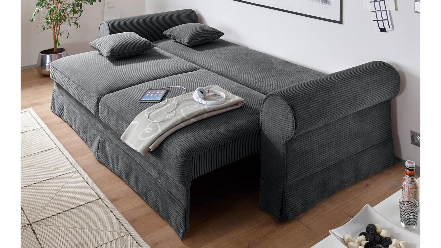 sofa 3 sitzer yankee stoff anthrazit schlaffunktion 253 cm. Black Bedroom Furniture Sets. Home Design Ideas