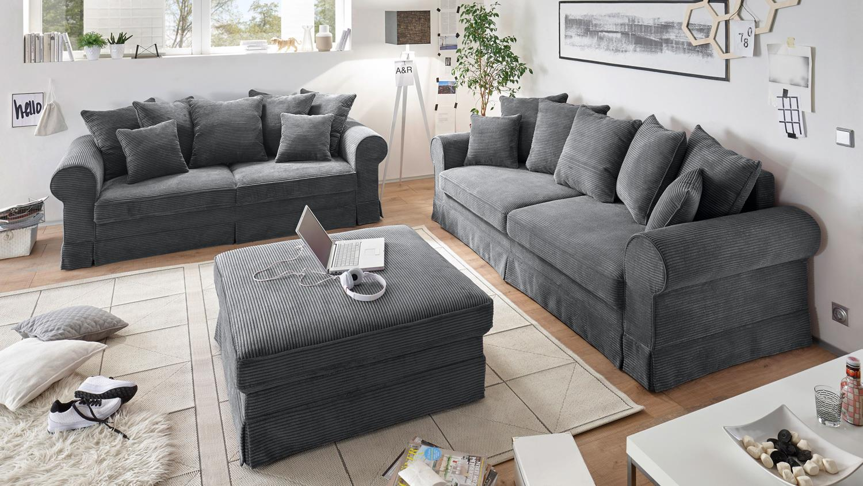 Ecksofa landhaus stoff  Sofa 3-Sitzer YANKEE Stoff anthrazit Schlaffunktion 253 cm