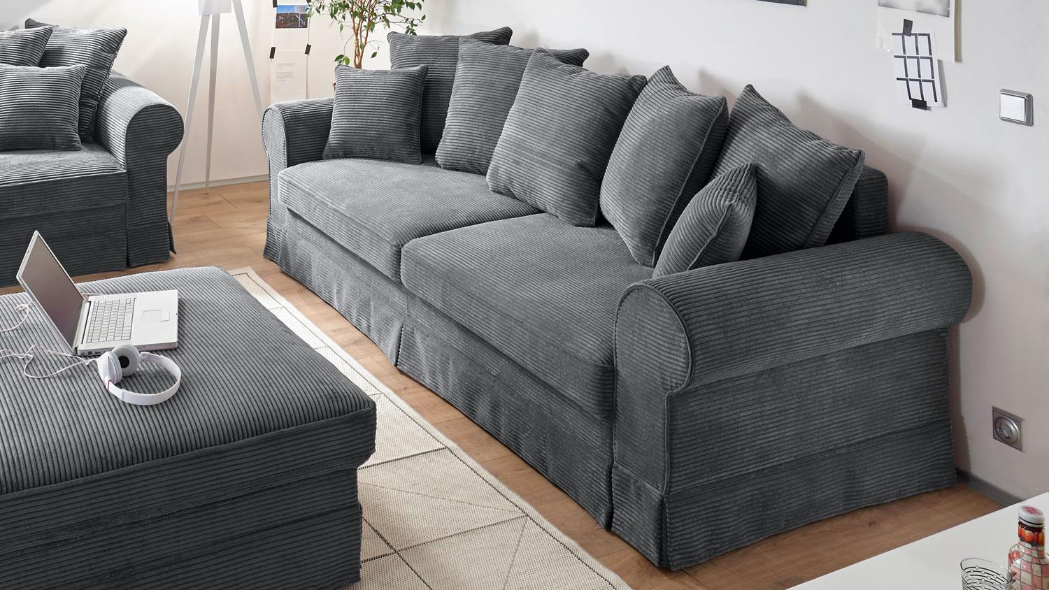 Sofa garnitur yankee stoff anthrazit inkl schlaffunktion for Sofa garnitur