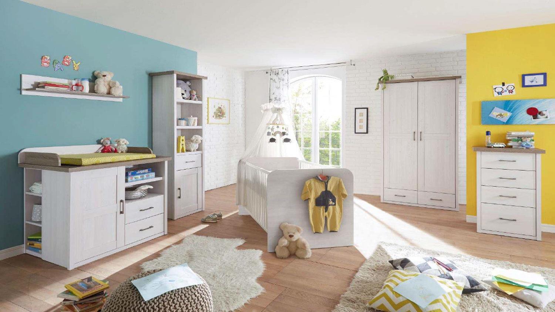 kleiderschrank luca schrank f r babyzimmer pinie wei und tr ffel 106. Black Bedroom Furniture Sets. Home Design Ideas