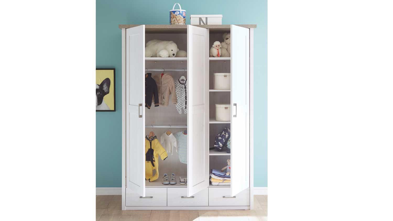 LUCA Schrank für Babyzimmer Pinie weiß und Trüffel 148