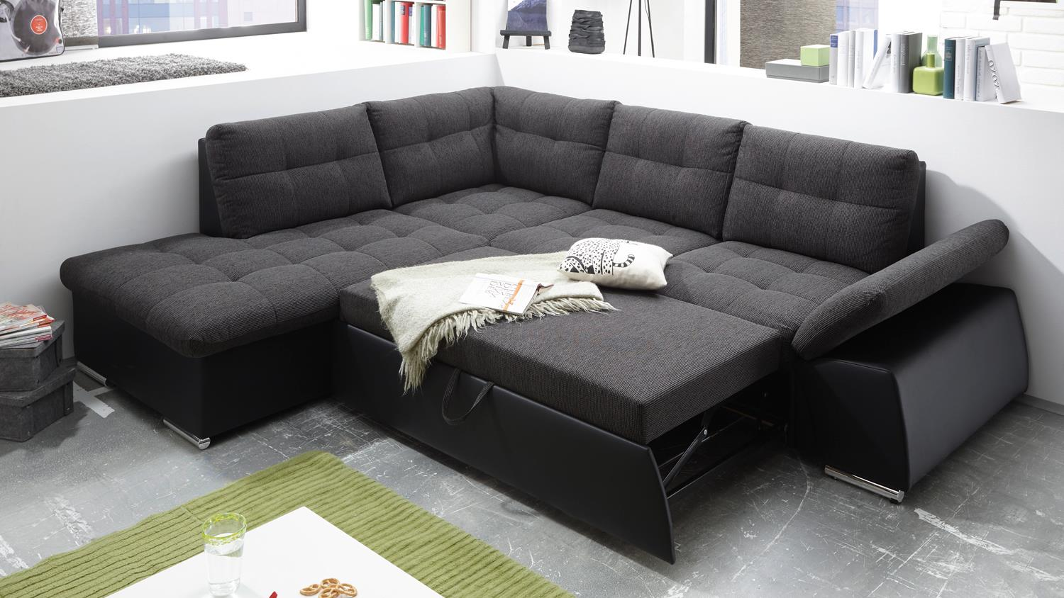 ecksofa links jakarta wohnlandschaft in schwarz und lawa mit funktion. Black Bedroom Furniture Sets. Home Design Ideas