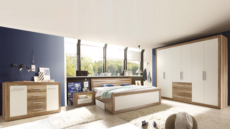 fernando canyon oak weiß komplett mit sideboard - Komplett Schlafzimmer Weiß