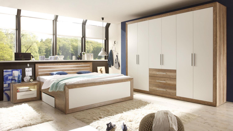 fernando canyon oak weiß komplett mit sideboard, Wohnzimmer dekoo