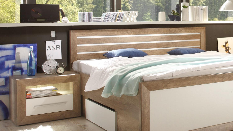 FERNANDO Canyon Oak weiß komplett mit Sideboard