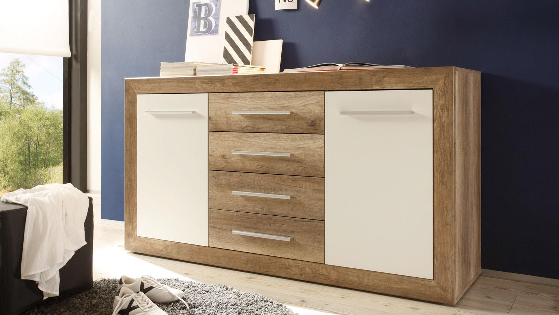 schlafzimmer fernando canyon oak wei komplett mit sideboard. Black Bedroom Furniture Sets. Home Design Ideas