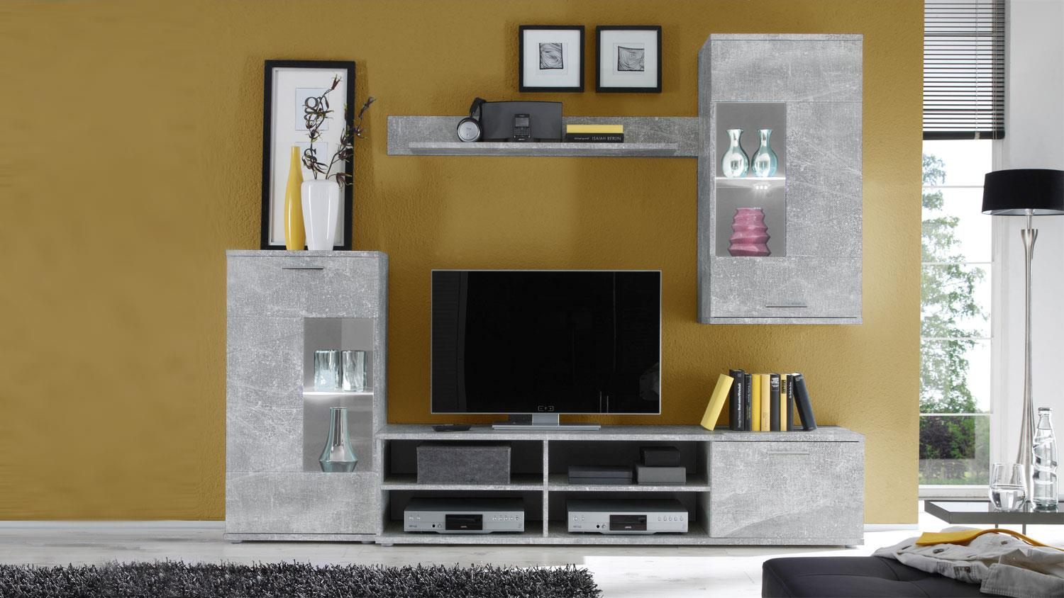 wohnwand frontal i betonoptik vitrinen mit led. Black Bedroom Furniture Sets. Home Design Ideas