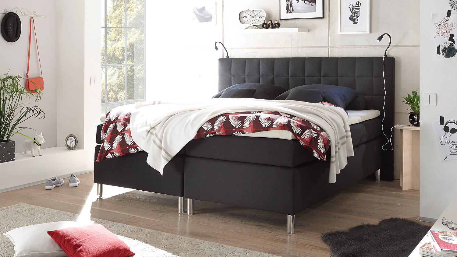 boxspringbett vitoria schlafzimmer bett in schwarz mit topper 180x200. Black Bedroom Furniture Sets. Home Design Ideas