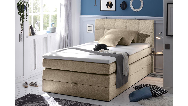boxspringbett new bedford 1 in stoff beige federkern. Black Bedroom Furniture Sets. Home Design Ideas
