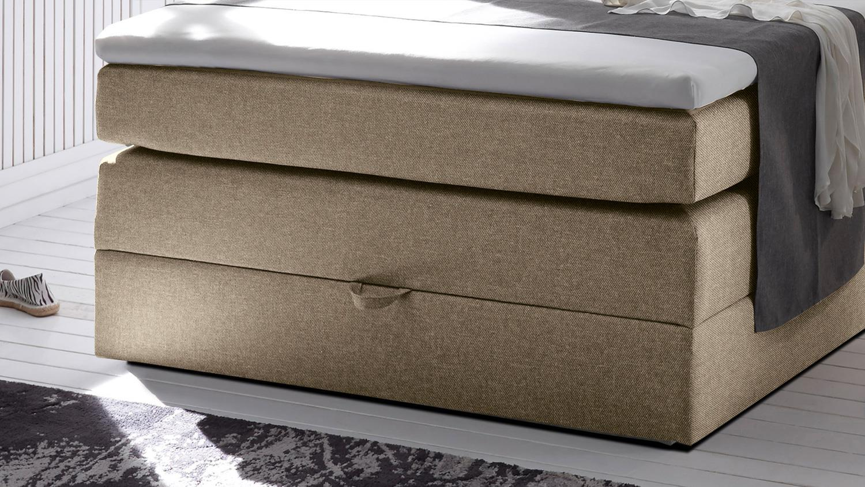 boxspringbett new bedford 1 in stoff beige federkern bettkasten 120 cm. Black Bedroom Furniture Sets. Home Design Ideas