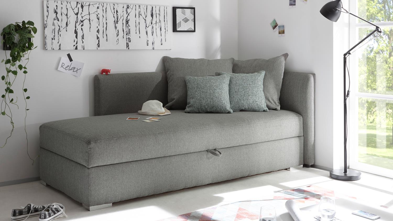 Schlafsofa MIKA Sofa Funktionssofa in silber grau mit Bettkasten