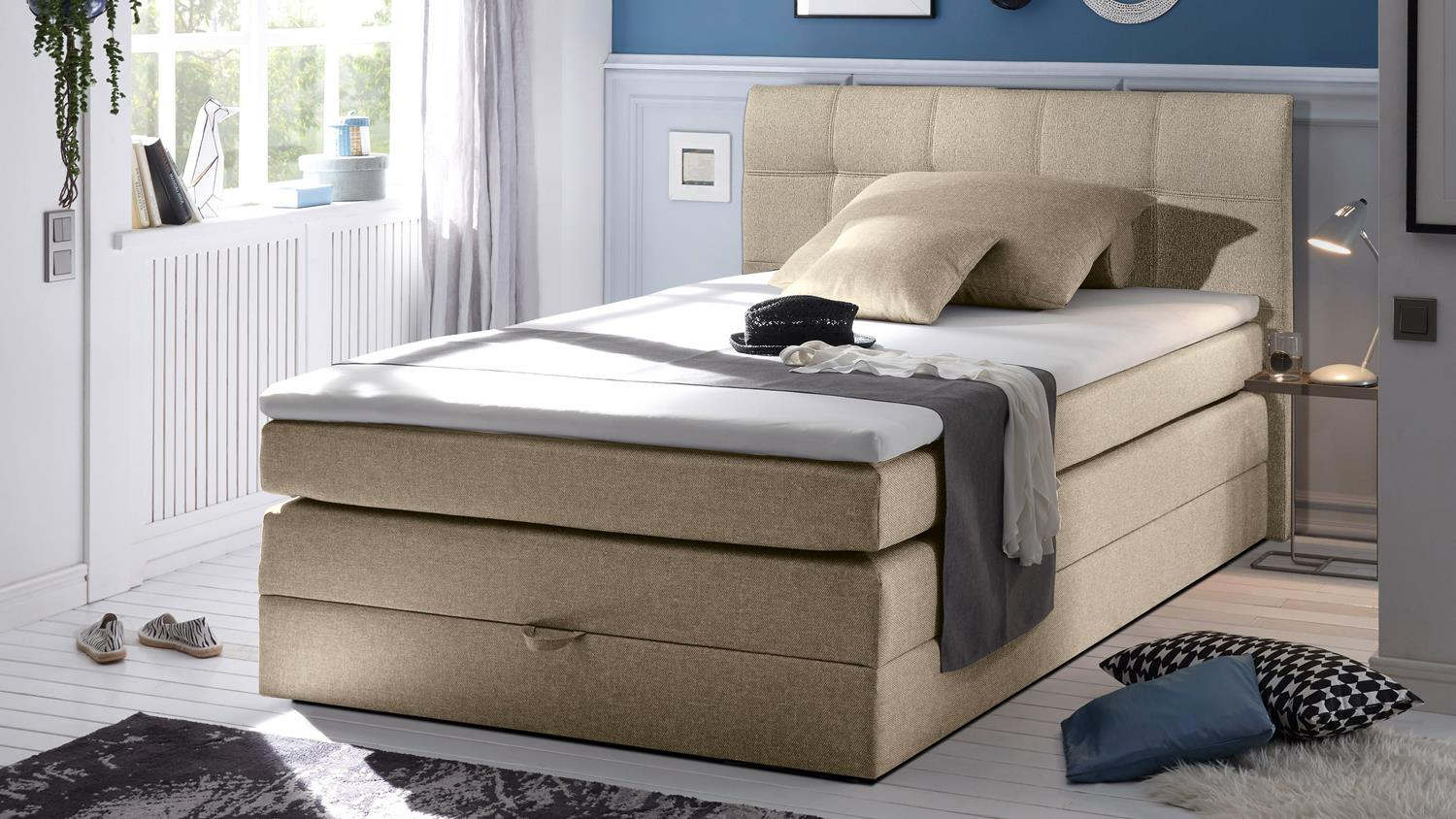 boxspringbett new bedford bett schlafzimmer beige mit topper 140x200. Black Bedroom Furniture Sets. Home Design Ideas