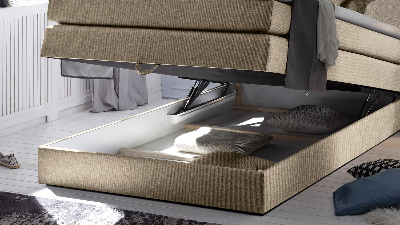boxspringbett new bedford bett schlafzimmer beige mit topper 140x200. Black Bedroom Furniture Sets. Home Design Ideas