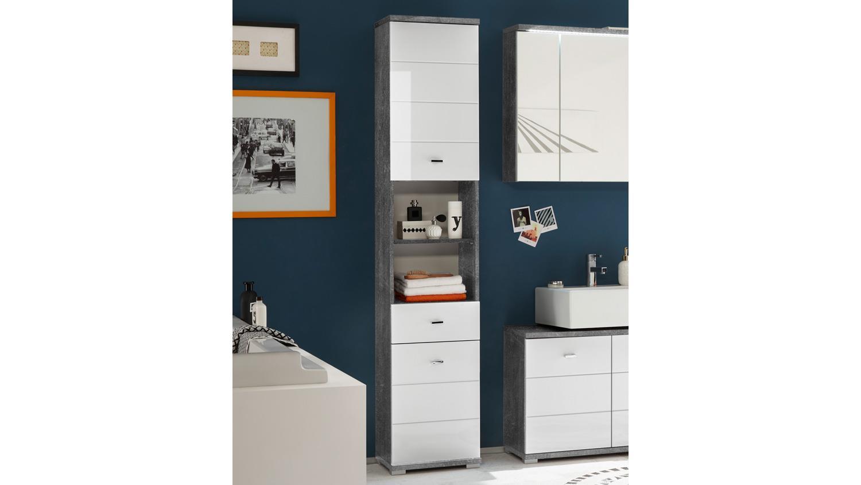 badezimmer hochschrank pool badschrank beton grau wei. Black Bedroom Furniture Sets. Home Design Ideas