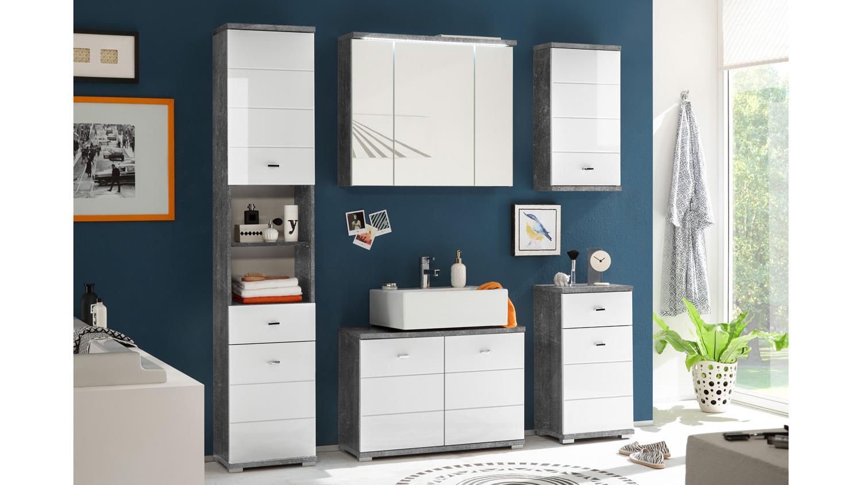 Bad Hochschrank POOL Badezimmer Schrank in Beton grau und MDF weiß