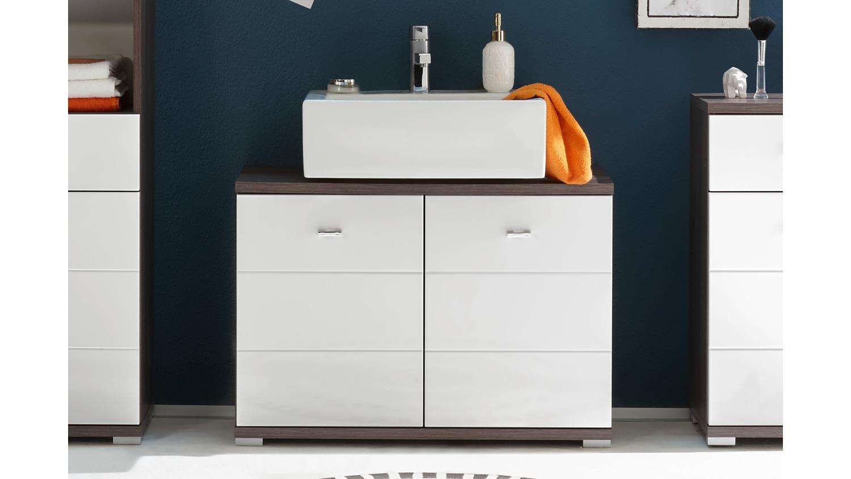 POOL Badezimmer in Ulme braun und MDF weiß