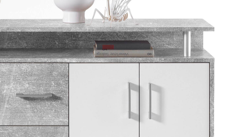 Kommode Drift Highboard In Beton Optik Grau Und Weiss Inkl Aufsatz