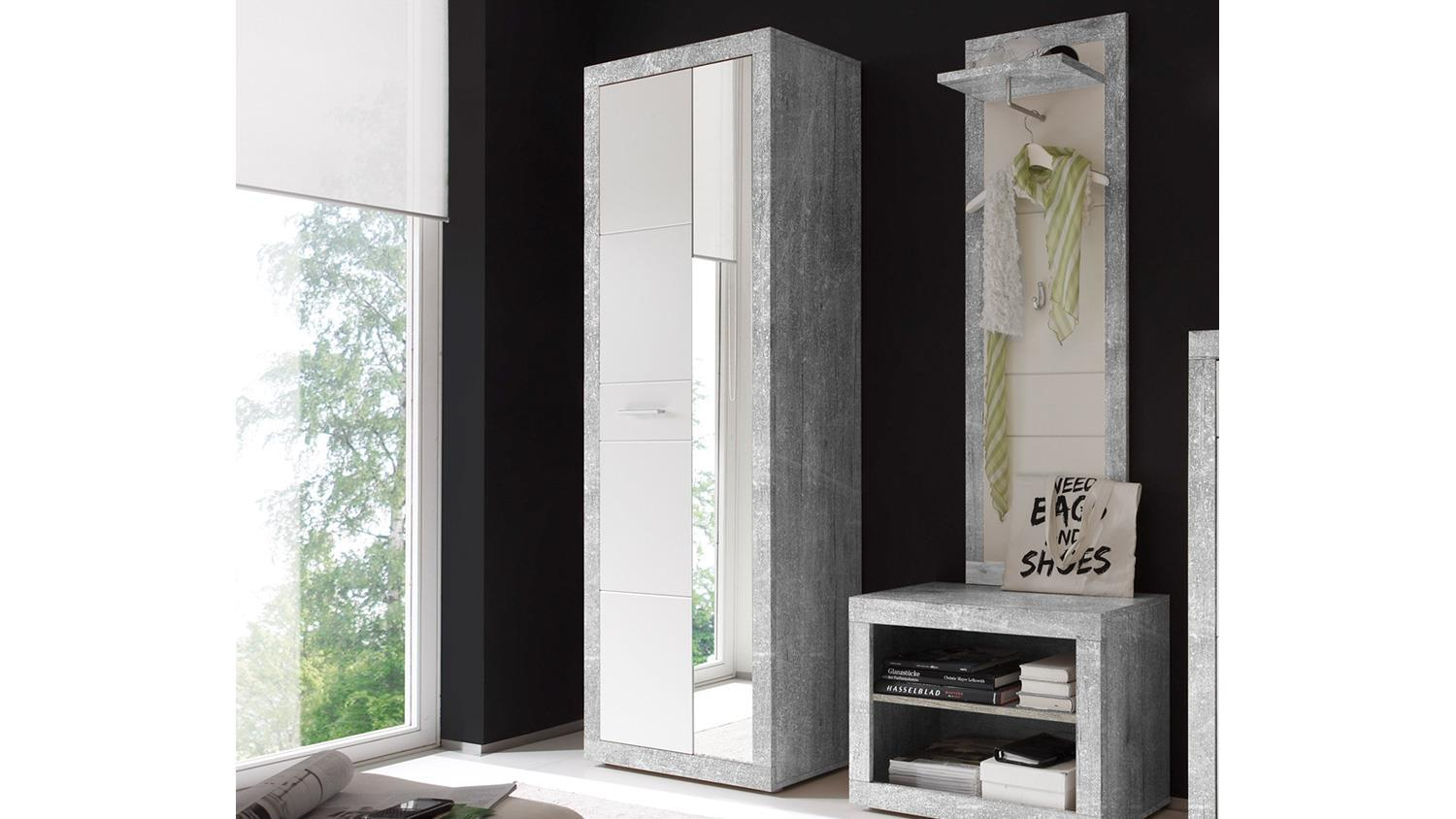 garderobenschrank stone in beton optik grau und wei glanz mit spiegel. Black Bedroom Furniture Sets. Home Design Ideas