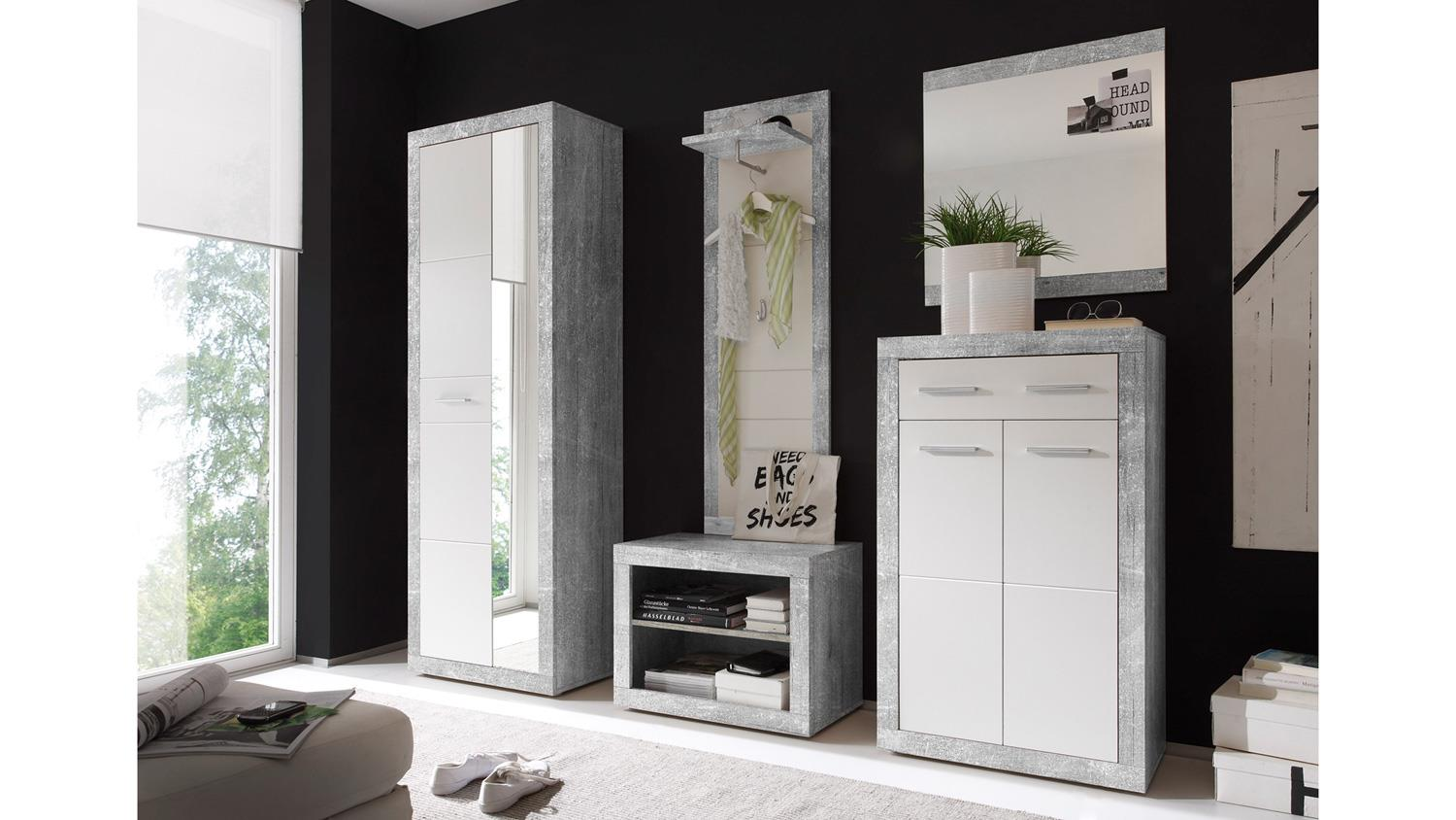 garderobe stone in beton optik grau und wei glanz inkl spiegel 5 tlg. Black Bedroom Furniture Sets. Home Design Ideas