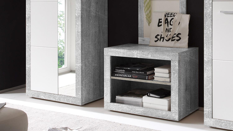 Garderobe stone in beton optik grau und wei glanz inkl for Schuhkommode mit spiegel