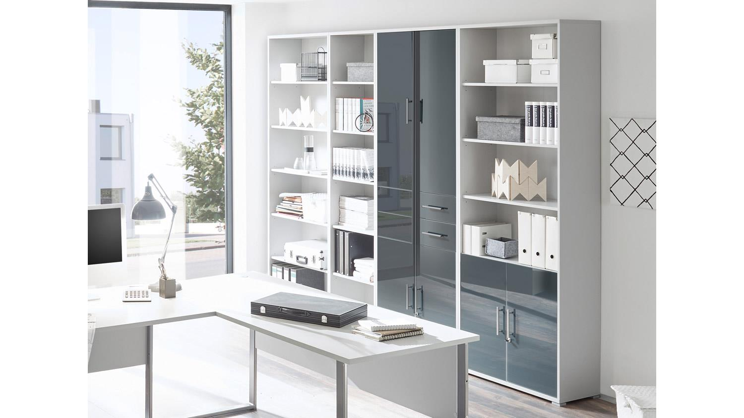 schrank office lux 4 trg lichtgrau wei glas graphit lack mit schloss. Black Bedroom Furniture Sets. Home Design Ideas