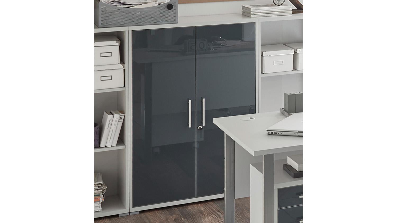 schrank office lux halbhoch lichtgrau wei glas graphit lack schloss. Black Bedroom Furniture Sets. Home Design Ideas