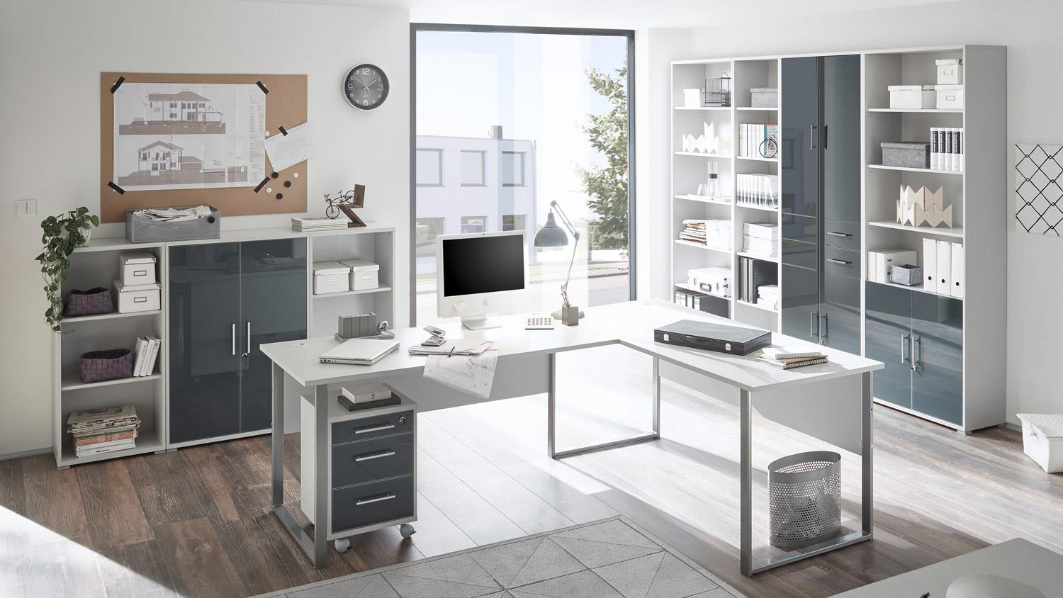 schrank office lux halbhoch lichtgrau wei glas graphit lack schloss. Black Bedroom Furniture Sets. Home Design Ideas