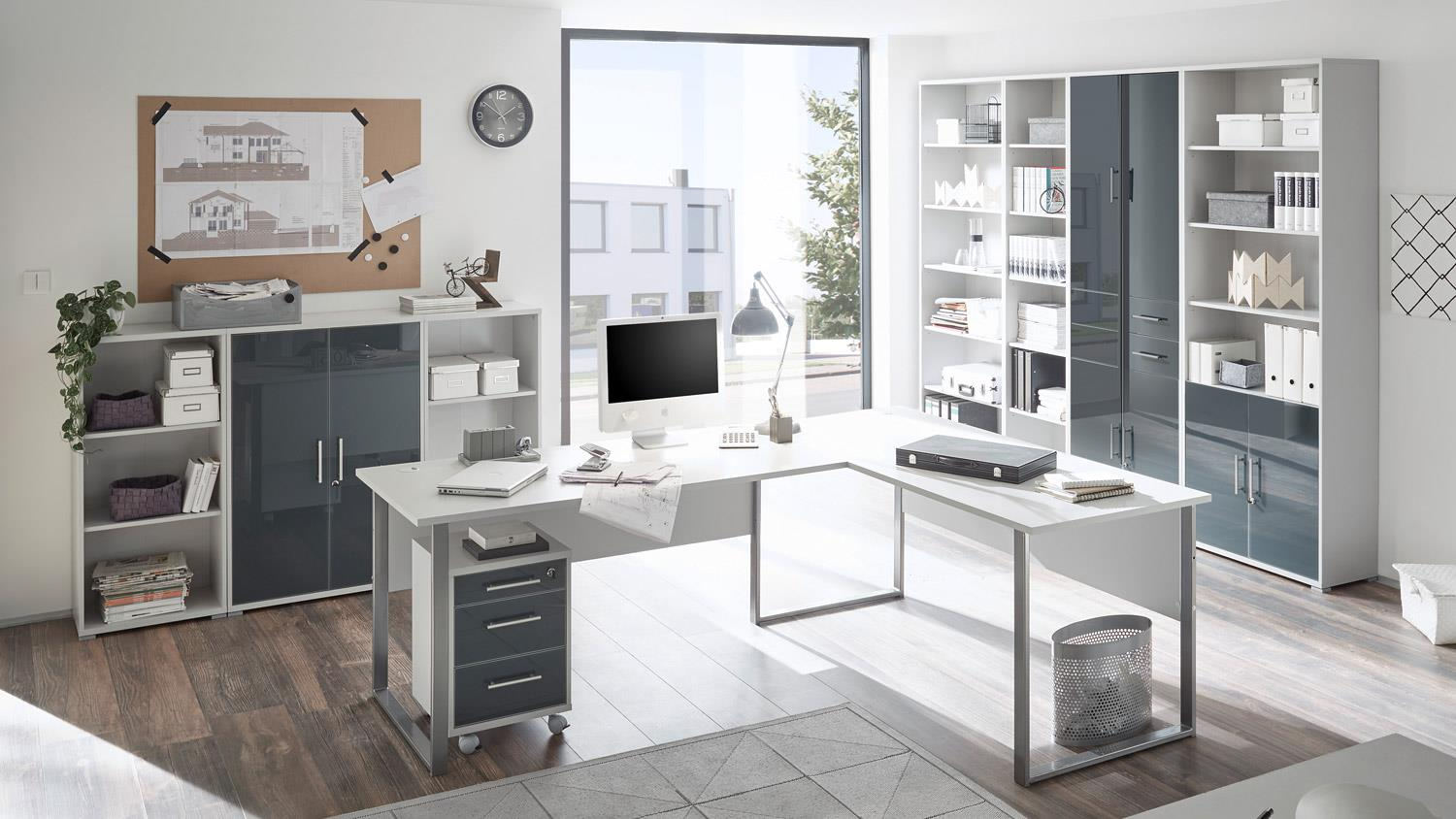 b ro office lux komplettset lichtgrau wei glas graphit lack 9 teilig. Black Bedroom Furniture Sets. Home Design Ideas