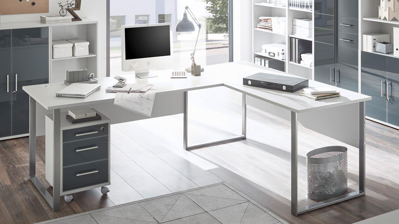 Büro OFFICE LUX Komplettset lichtgrau weiß Glas graphit ...