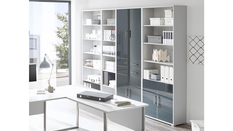 b ro office lux komplettset lichtgrau wei glas graphit lack 9 teilig. Black Bedroom Furniture Sets. Home Design Ideas