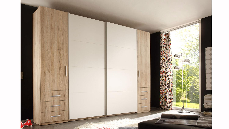kleiderschrank 3 t rig schwebet renschrank store eiche san remo hell wei. Black Bedroom Furniture Sets. Home Design Ideas