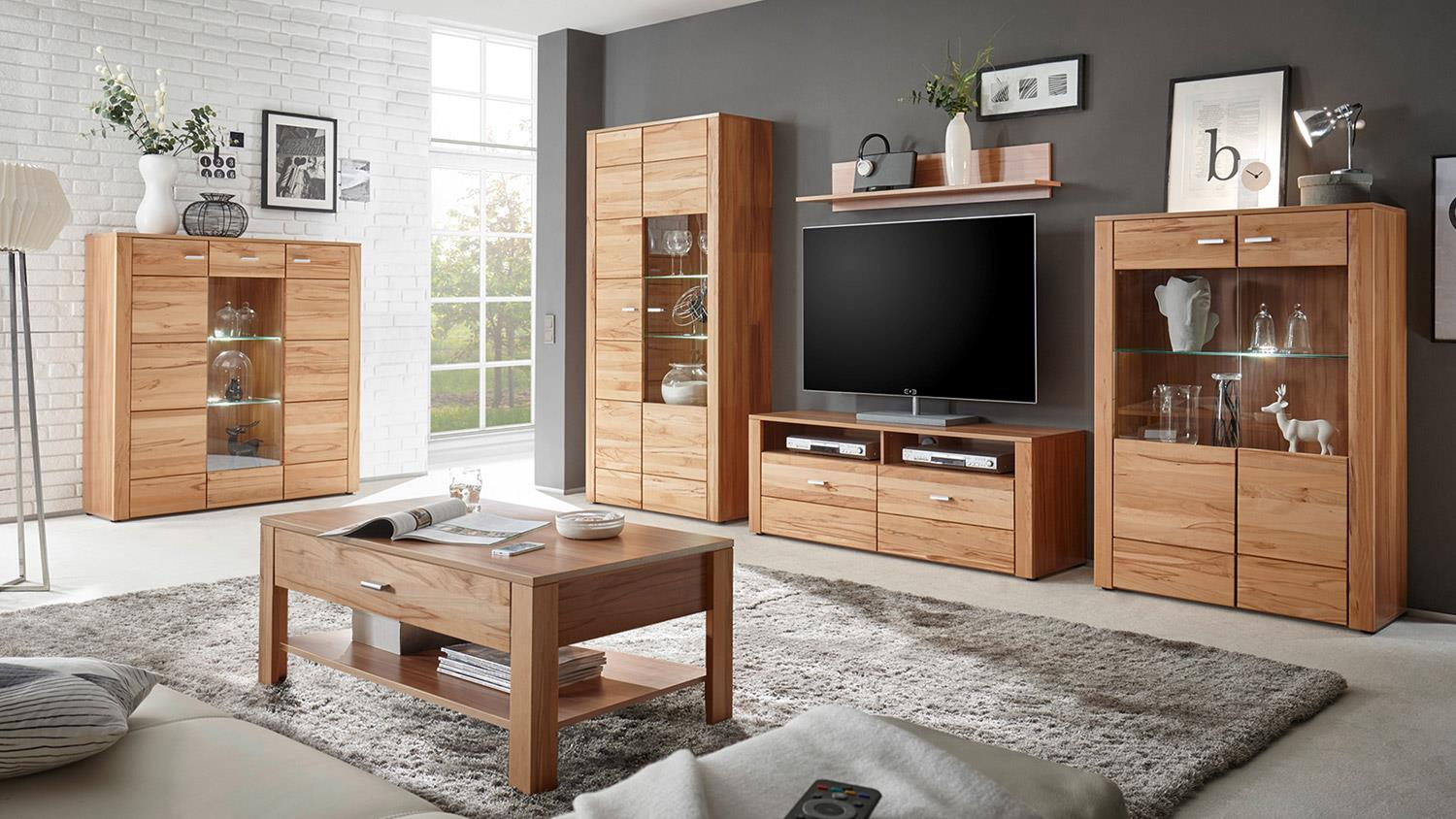 wohnwand 3 donau front in kernbuche massiv ge lt inkl led beleuchtung. Black Bedroom Furniture Sets. Home Design Ideas
