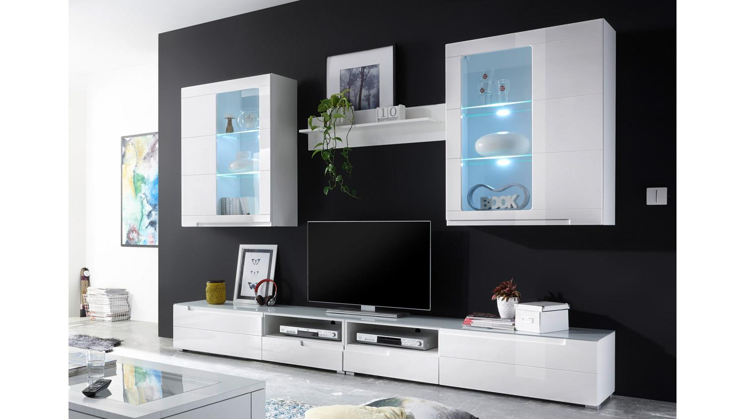 anbauwand mdf wei wohnwand tiga hochglanz mit led. Black Bedroom Furniture Sets. Home Design Ideas