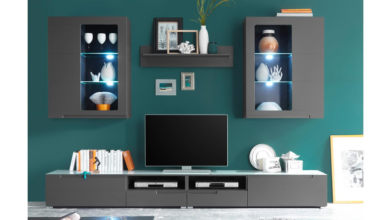 wohnwand tiga in mdf grau matt tiefzieh inkl led beleuchtung. Black Bedroom Furniture Sets. Home Design Ideas