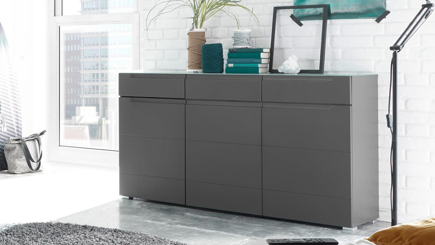 sideboard tiga in mdf grau matt tiefzieh mit satinierter. Black Bedroom Furniture Sets. Home Design Ideas