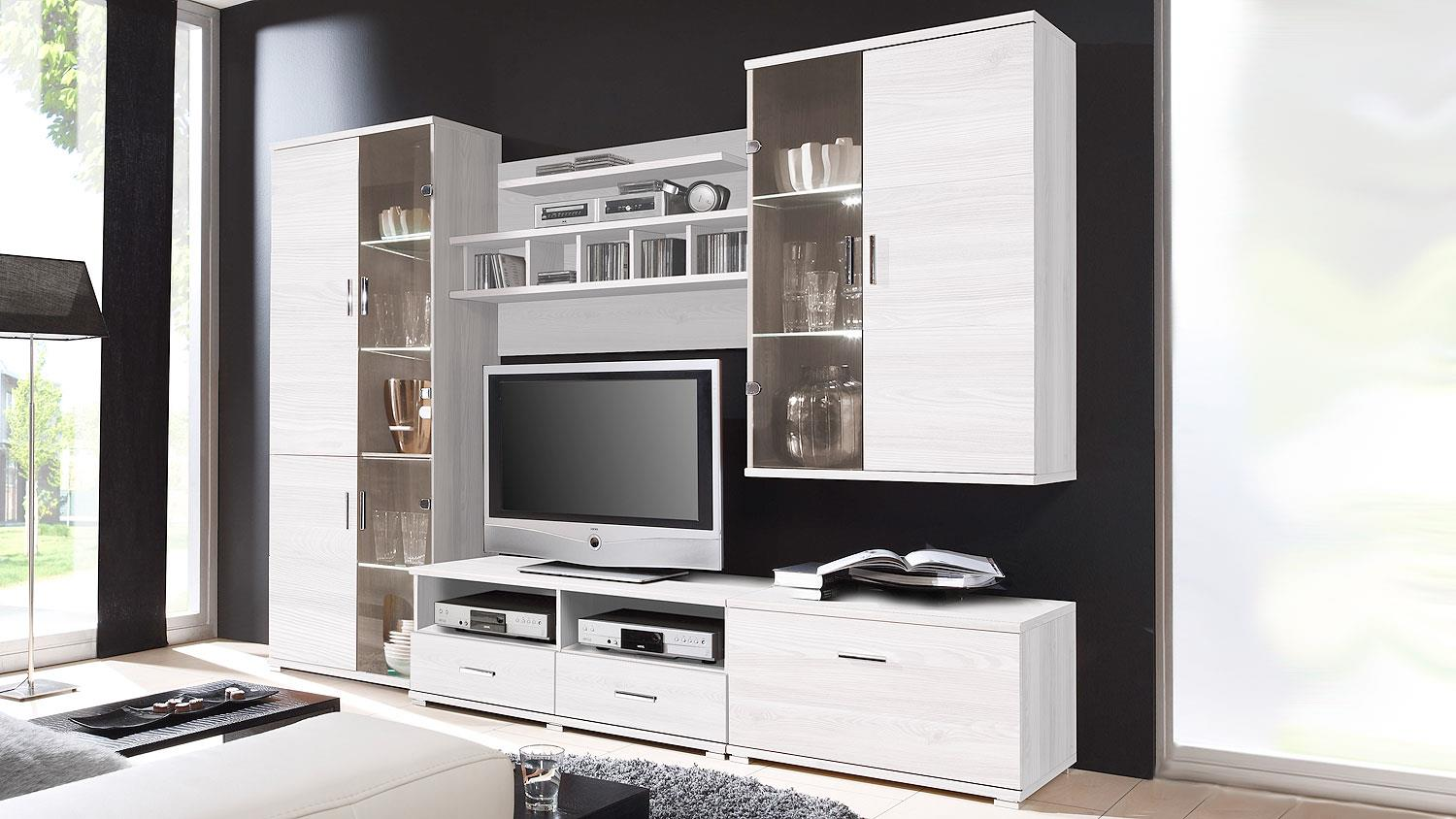 wohnwand sibiu l rche anbauwand libero mit led. Black Bedroom Furniture Sets. Home Design Ideas